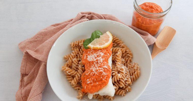 Kabeljauw met geroosterde paprika pesto