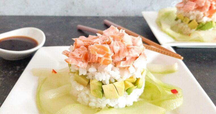 Sushi torentjes met zalm en avocado