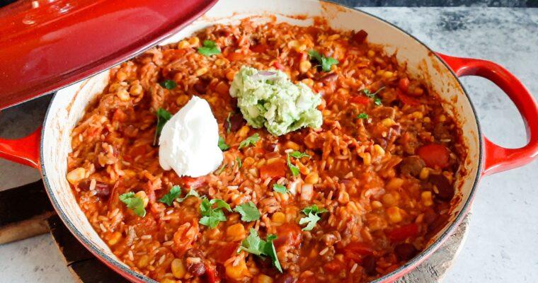 Mexicaanse rijst met gehakt