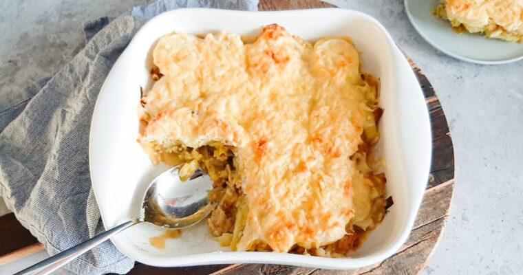 Preischotel met aardappel en kipgehakt