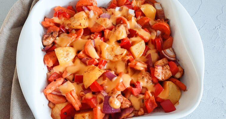 Aardappelschotel met kip en cheddar