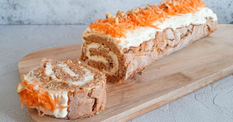Carrot cake roll met roomkaasfrosting