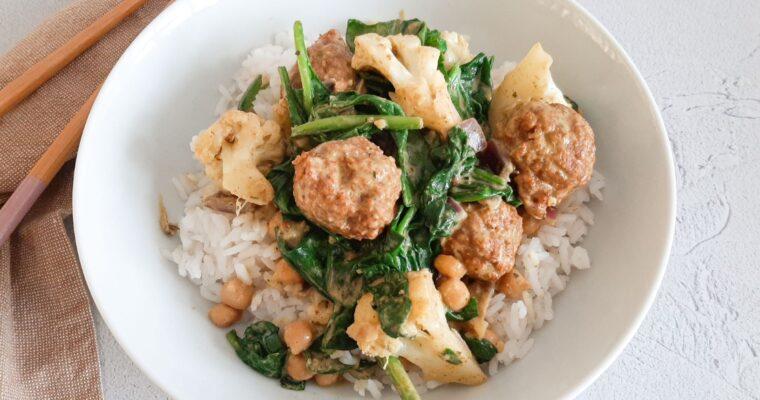Groene curry met kikkererwten