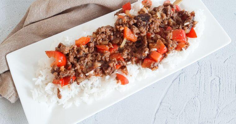Rijst met satégehakt